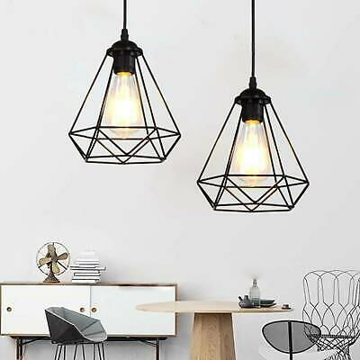 Industrial Geometric Light Shade Wire Frame Ceiling Pendant Lightshade Lampshade • 8.99£