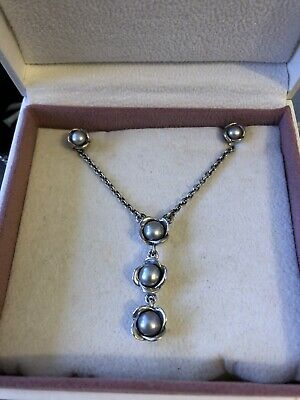 Old Retired Pandora Grey Pearl Necklace & Earring Set • 125£
