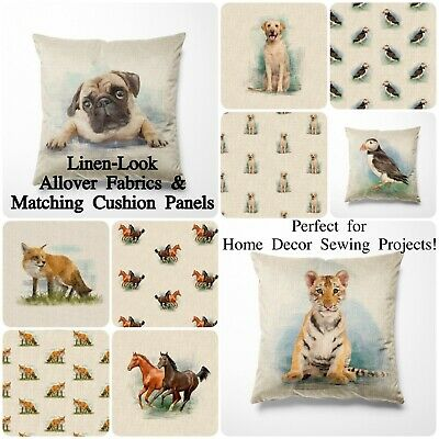 £5.75 • Buy Linen Look Fabric Animal Cotton-Rich All Over And Cushion Panels For Home Decor