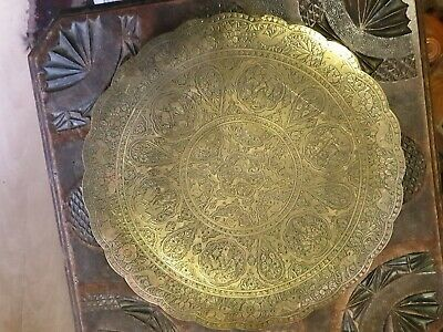 $ CDN52.60 • Buy Antique Persian Art Qajar Period Quality Engraved Love Story Brass Footed Bowl