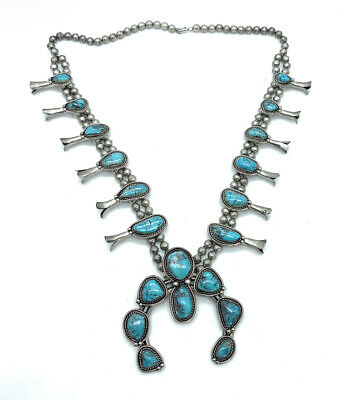 $ CDN1110.11 • Buy Vintage Old Pawn Navajo Sterling Silver & Turquoise Squash Blossom Necklace
