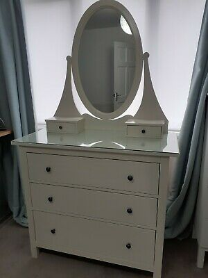 IKEA  Hemnes White, Glass Topped 3 Drawer Chest, Dressing Table With Mirror • 75£