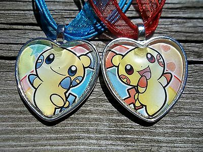Pokemon Trading Card Plusle Minun Pendant Glass Charm Friendship Lot Necklace H • 26.01£