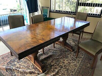 AU600 • Buy Vintage 8-seater Dining Table And Chairs - Walnut Veneer - 1930s - Well Used