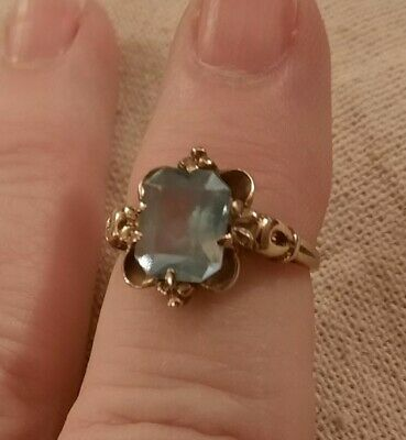 $ CDN227.10 • Buy 10 Kt Yellow Gold Ring Aquamarine Solitaire Vintage Size 5