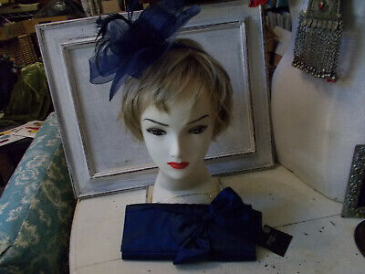 Navy Blue Feather Mesh Fascinator And Matching Silk Evening Bag Good Condition • 5£