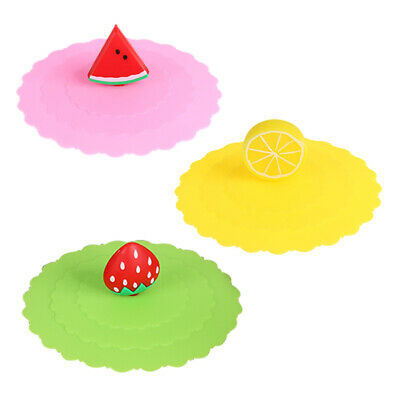 £1.84 • Buy UN3F Cartoon Fruit Dustproof Reusable Silicone Cup Cover Coffee Suction Seal Lid