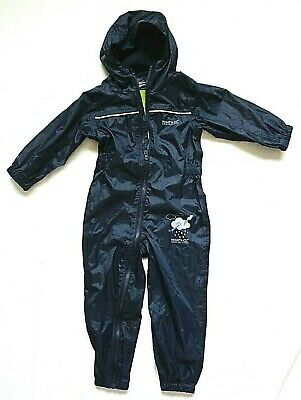 REGATTA Kids Hooded Waterproof Puddle Splash Suit Age 3-4 Years Navy Unisex • 9.99£