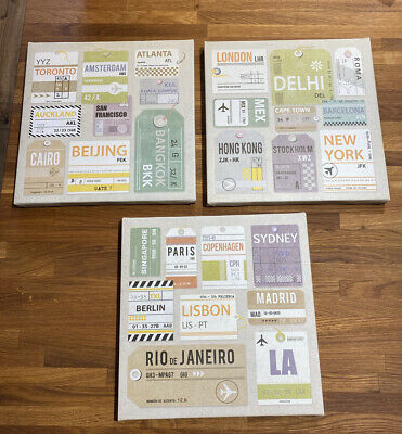 Ikea Pjatteryd (22677) Set Of 3 Travel Canvas Picture Prints • 4.90£