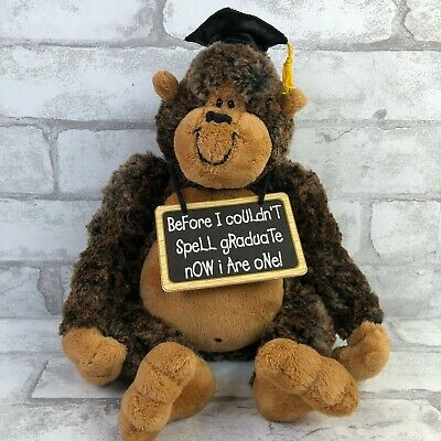 $ CDN24.17 • Buy Gund Garstang Graduation Monkey Gorilla Plush Soft Brown Cap Tassel Funny Sign