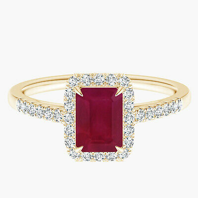 AU362.41 • Buy Emerald-Cut Ruby Ring Simulated Diamond Accents 9K Yellow Gold