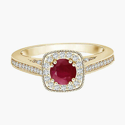 AU348.90 • Buy Ruby Halo Ring With Simulated Diamond Accents 9K Yellow Gold