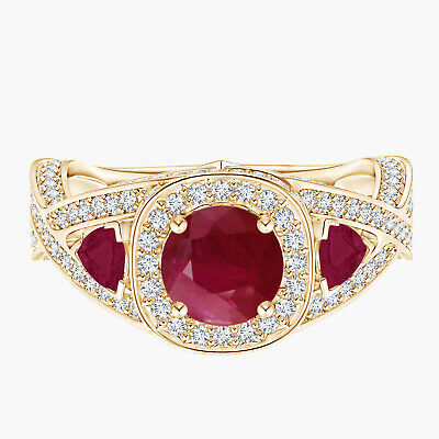 AU465.22 • Buy Ruby Criss-Cross Ring With Simulated Diamond Accents 9K Yellow Gold