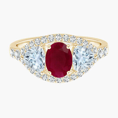 AU380.68 • Buy 9K Yellow Gold Oval Ruby & White Simulated Diamond Halo Ring