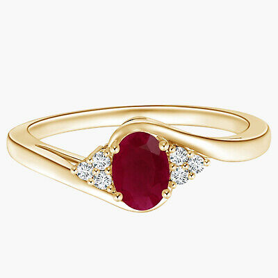 AU316.43 • Buy 9K Yellow Gold Oval Ruby Bypass Ring With Trio Simulated Diamond Accents