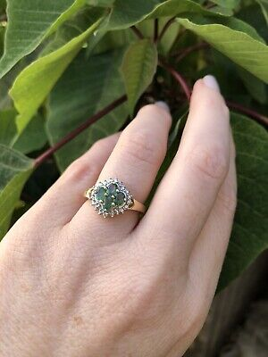 AU325 • Buy Retro Emerald And Diamond Quatrefoil Ring 9ct Gold
