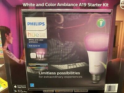 AU150.05 • Buy NEW Philips Hue Ambiance A19 Starter Kit - White And Color