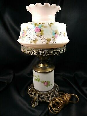 $ CDN63.42 • Buy Vintage GWTW Hurricane Table Lamp Hand Painted Floral & Brass 3-Way Light 16