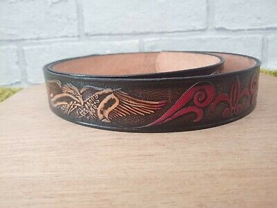 £16.99 • Buy Genuine USA Real Leather Truckers Belt Cowhide Western Style  108cm