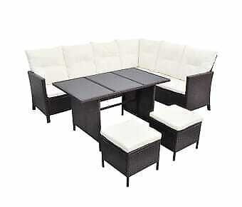 Garden Furniture Rattan 4 Piece Lounge Set With Cushions Poly Brown • 1,545.74£