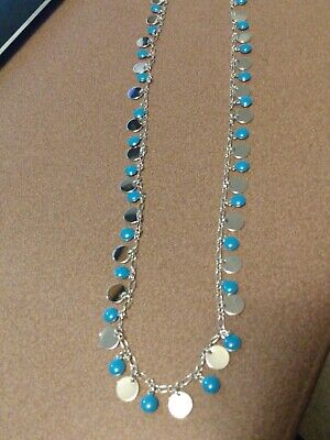 $ CDN11.41 • Buy Lia Sophia Long Silver Necklace With Silver And Blue Discs, Beautiful