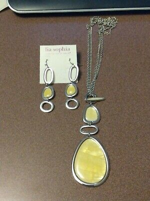 $ CDN16.23 • Buy Lia Sophia Silver Toggle Necklace And Earrings Set With Mother Of Pearl Shell