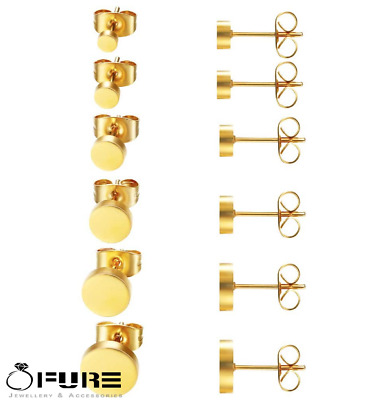 £2.99 • Buy 14K Real Gold Plated Cheater Round Disc Punk Surgical Steel Ear Stud Earrings