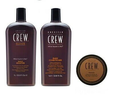 £38.99 • Buy American Crew Daily Shampoo 1000ml, Conditioner 1000ml And Pomade 50g