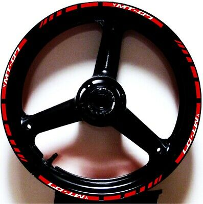 £19.42 • Buy Red Reflective 3m Gp Style Rim Stripes Wheel Decals Tape Stickers Yamaha Mt-07
