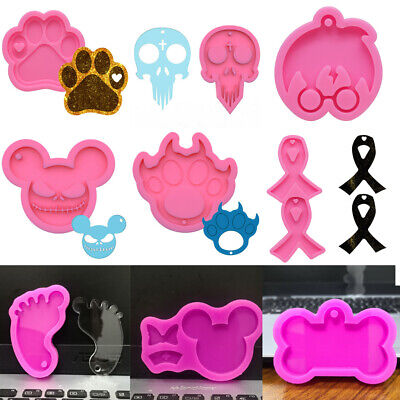£3.59 • Buy Silicone Pendant Resin Mold Tag Keychain Resin Casting Mould Necklace Epoxy DIY