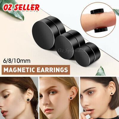 AU4.55 • Buy Magnetic Earring No Piercing Black Earrings Stud Mens Women Fake Round Jewellery