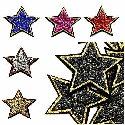 £1.69 • Buy Sequin Sparkle Star Space Patch Patches Iron On Alphabet Embroidery Clothes