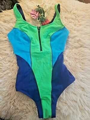 AU45.09 • Buy Vintage 80s 90s Christina Zip Front Swimsuit Bathing Suit Body Suit Sz 36W40 EUC