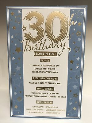 £2.49 • Buy Blue 30th Birthday Card - The Year You Were Born - 1991 - Gold Envelope