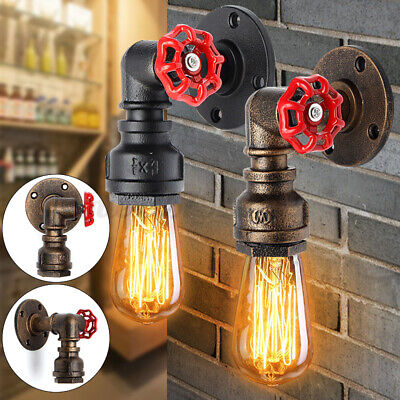 £11.89 • Buy E27 Rustic Water Pipe Wall Light Porch Lamp Holder Steampunk Vintage Industrial