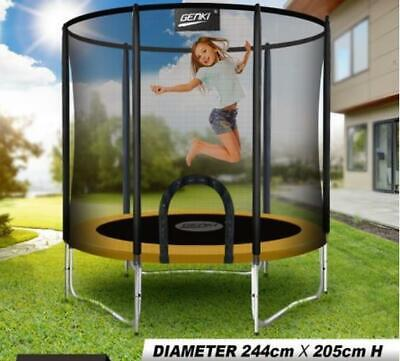AU212.50 • Buy Genki 8ft Trampoline Junior Jumping W/Safety Enclosure Net Pad Gift Outdoor New