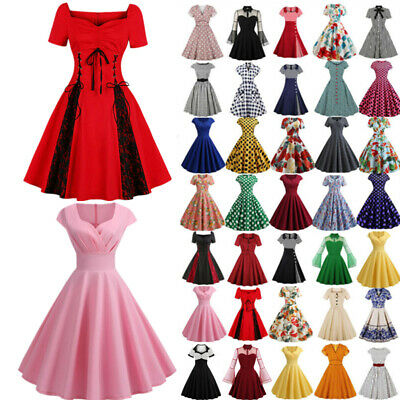 AU20.32 • Buy Women's Retro Rockabilly Evening Cocktail Party Dress Pinup Skater Swing Dress