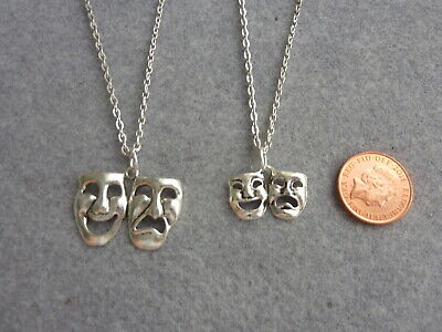 £3.59 • Buy Theatre Drama Tragedy & Comedy Masks Charm Pendant Necklace 18 , 20  Chain Gift