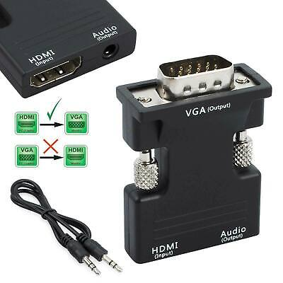 1080P HDMI Female To VGA Male With Audio Output Cable Converter Adapter Lead UK • 5.49£