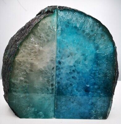 Stunning Heavy Large Green/blue Dyed Agate Geode Bookends Healing Crystal • 45.99£