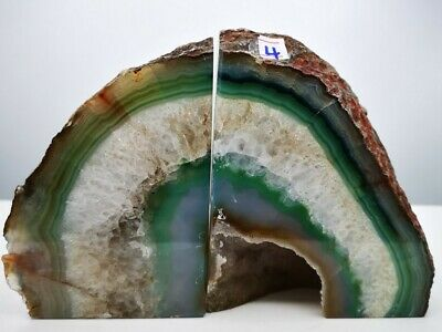 Stunning Heavy Large Green/blue Dyed Agate Geode Bookends Healing Crystal • 29.99£