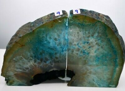 Stunning Heavy Large Blue Dyed Agate Geode Bookends Healing Crystal • 34.99£