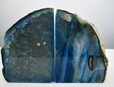 Stunning Heavy Large Blue Dyed  Agate Geode Bookends Healing Crystal • 24.99£