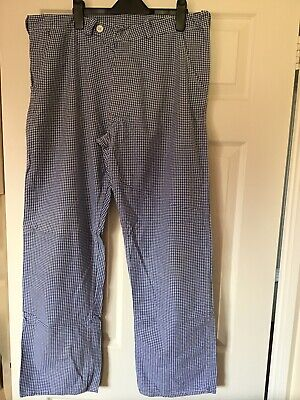 Chefs Blue/white Check Trousers Size 36  • 3£