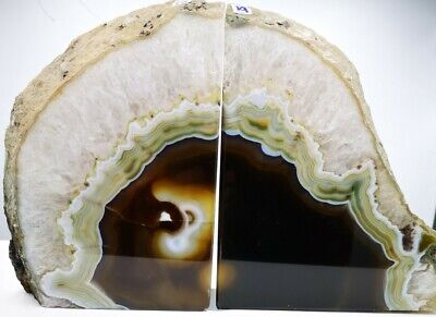 Stunning Heavy Large Natural Agate Geode Bookends Healing Crystal • 44.99£