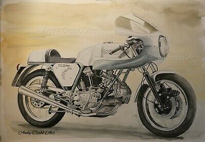 £8.99 • Buy Ducati 750 Super Sport  Motorcycle Watercolour Print By Andy Crabb