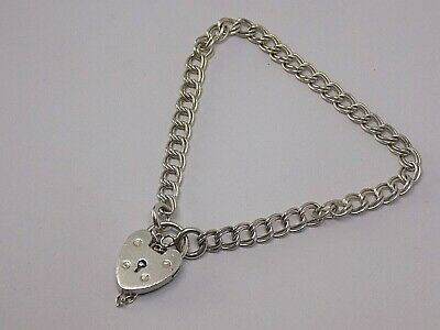 Vintage Sterling Silver 7  Inch Charm Bracelet With Heart Lock. • 29.99£