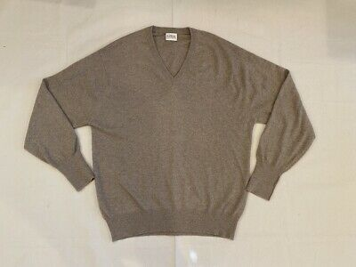N. Peal Mens Made In Scotland Tan Pure Cashmere Sweatshirt Sweater Large Brown • 32.74£