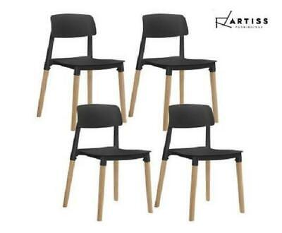 AU158.34 • Buy Artiss Belloch Replica Dining Chairs Stackable Chair Wood Leg Kitchen Cafe X4