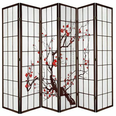 AU229 • Buy Cherry Blossom Room Divider Screen Brown 6 Panel
